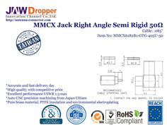 MMCX Jack Female Right Angle Semi Rigid Coaxial Connector 50 ohms for .085'' Cable http://antenna-connector.com/products/mmcx-jack-female-right-angle-semi-rigid-coaxial-connector-50-ohms-for-085-cable/ JAW-DROPPER offer Made in Taiwan MMCX Jack Female Right Angle Semi Rigid Coaxial Connector 50 ohms for .085'' Cable have High Quality, Competitive Price and Excellent Performance, by RoHS, REACH Certification.