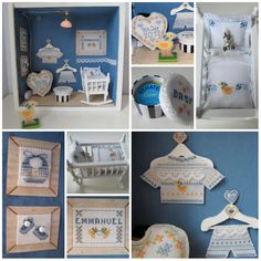 """Cross Stitch: I saw the book """"petites vitrines et miniatures au point de croix"""" of Marie-Anne Réthoret-Mélin and felt in love! Made this baby dollhouse with some variations. Wood approx. 20 x 20 x 10 cm, furniture are 1:12."""