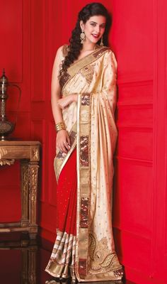 Vogue and pattern could be on the peak of your attractiveness when you dresses this beige & red shimmer fabric viscose georgette saree. The moti sequins stones work seems to be chic and fantastic for any function. #PrettyBeigeZardosiShimmerSariDesign