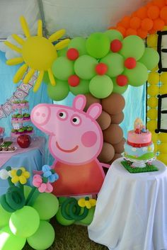 "Photo 4 of Peppa Pig / Birthday ""{Peppa Pig Party}"" 4th Birthday Parties, Birthday Party Decorations, Pig Decorations, 2nd Birthday, Birthday Ideas, Fiestas Peppa Pig, Peppa Pig Pinata, Peppa Pig Balloons, George Pig Party"