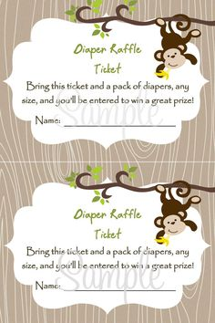 Monkey Baby Shower Diaper Raffel Card 2 per 4x6  by LuckyBean33, $6.00