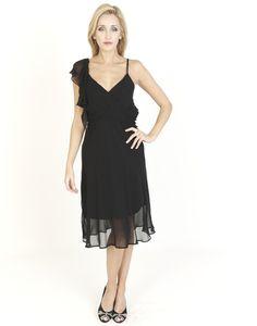 Black Dresses - Ruffle Shoulder Chiffon Black Dress - http://www.blackdresses.co.uk