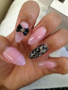 Damask pink stilleto nails