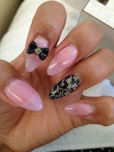 Damask pink stilleto nails
