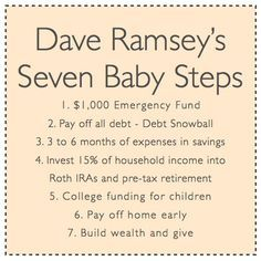 Dave Ramsey's Seven Baby Steps! Good reminder!