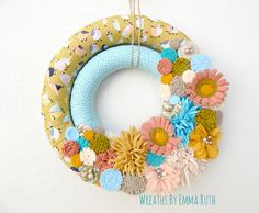 Spring Bird Double Wrapped Fabric Wreath by Wreaths by Emma Ruth on Etsy, FB & IG