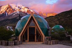 An eco-friendly, sustainable geodesic dome accommodation in Torres del Paine National Park, Chilean Patagonia. Guided treks, Great Community, Green Lodging.