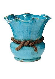 VIETRI Rustic Garden Turquoise Scalloped Cachepot with Rope