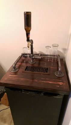 The kegerator, complete with some tall pint glasses, is ready for a party