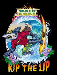 Sharkman, for Maui and Sons T-Shirts by BernardOliver Lightning Bolt Logo, Surf Logo, Pin Up Girl Vintage, Surf Design, Surf Art, Dope Art, Surf Style, Weird Art, Surfs Up