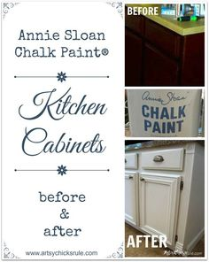 Kitchen Cabinets Painted with Annie Sloan Chalk Paint Before and After