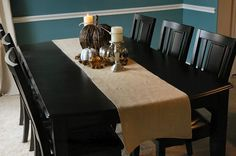 Handmade burlap table runners with natural edges.