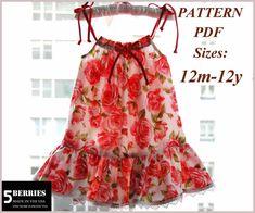 Maria Pillowcase Dress patrón de costura. PDF ropa niños patrones de costura.    Nivel: Principiantes muy. Fácil de preparar.    Características: