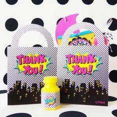 Girl Superhero Party Favor Bags #birthday-party #comic #comic-book