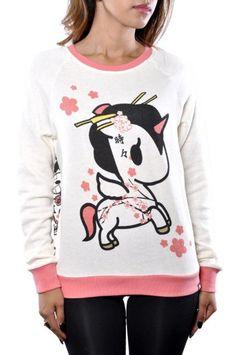 Amazon.com: Tokidoki Japanese Figurine Sakura Blossom All Over Graphic Sweater Beige Pink: Clothing