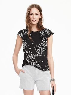 I like a cap sleeve like this when lots of upper arm will show.  Short-Sleeve Ruffle Crepe Top Product Image