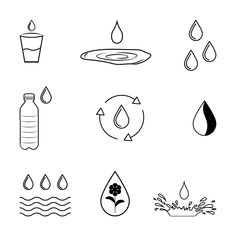 The icons collection by shervyd contains 45 high quality photos and images available for purchase on Shutterstock. Water Bottle Logos, Water Logo, Mini Tattoos, Small Tattoos, Water Journal, Icon Design, Logo Design, Icon Package, Water Icon