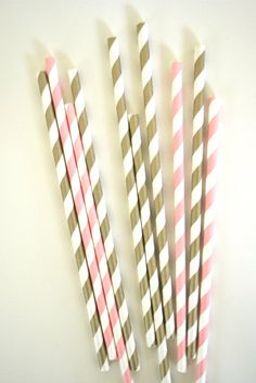 Pink Ballerina Paper Straws // Little Princess // Gold and pink //  Baby shower // Cake Pops // Party favors on Etsy, $1.60