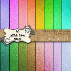 Gold Foil Various Colors Digital Paper Gold Foil by TeoldDesign
