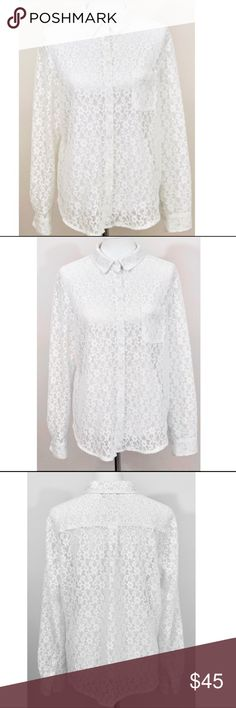 Catherine Malandrino Lace Button Down Blouse This is a staple item this lace blouse can be worn with so many different things and easily dressed up or down. It's thick enough and not super sheer so can be worn by itself with a sexy black skirt tucked in or leggings for a more evening out in town look or dress it more casually with denim, sandals or boots depending on season. Wear it to work with a simple cami underneath with slack or khaki pants and your all ready to go! True meaning of…