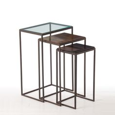 Arteriors Knight Hammered Iron Nesting Tables Set.