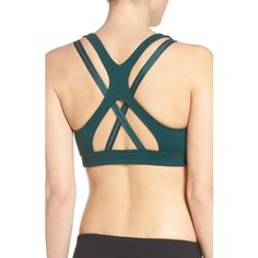 Women's Zella Impulse Sports Bra ($49) ❤ liked on Polyvore featuring activewear, sports bras, green ponderosa, zella sports bra, zella, zella activewear, strappy sports bra and zella sportswear
