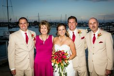 bride, groom, and her family
