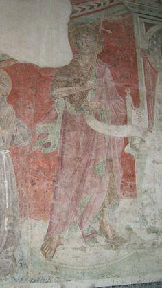 Taddeo Gaddi (attr.) - Madonna in trono col Bambino e Santi, dettaglio - affresco del XV sec, staccato dal Cortile del Castello dei Conti Guidi, Poppi (Arezzo)