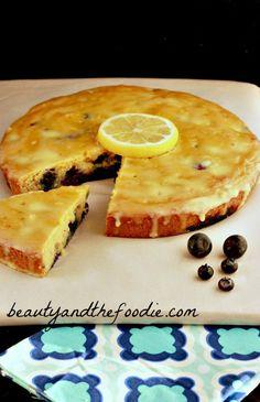 Paleo Lemon Blueberry Poke Cake / beautyandthefoodie.com