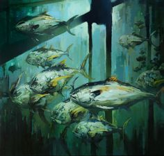 """Rig Fish / 36"""" x 36"""" / Oil on canvas  Commissioned painting of Amberjack fish under a rig"""