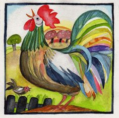 Rise and shine! Chicken Painting, Chicken Art, Bird Pictures, Pictures To Paint, Rooster Painting, 6th Grade Art, Chickens And Roosters, Flower Doodles, Bird Drawings