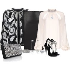 """""""Smart Pencil Skirt Outfit"""" by mozeemo on Polyvore. Silver and black outfit for a rather special occasion at Christmastide!"""
