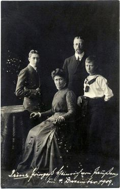 Prince and Princess Heinrich of Prussia with their two surviving sons, Prince Waldemar and Prince Sigismund of Prussia. December 4th, 1909.