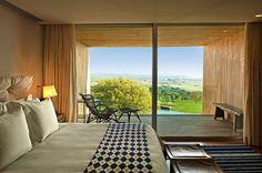 Quarto aconchegante no hotel Fasano, com vista para o Lago