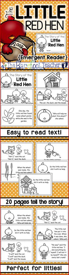 The Little Red Hen Emergent Reader FREEBIE - Your littles will love having their very own kid-friendly version of The Little Red Hen to read on their own. By: The Barefoot Teacher