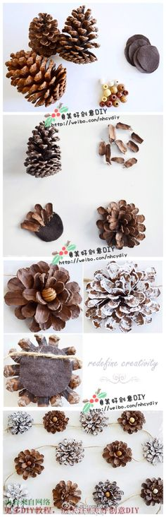 Tutorial to make garland from pine cones. Pine Cone Art, Pine Cone Crafts, Cute Crafts, Christmas Projects, Pine Cones, Fall Crafts, Holiday Crafts, Crafts To Make, Christmas Wreaths