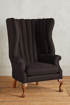 Slide View: 1: Linen English Fireside Chair