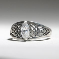Plus Size Celtic Knot Ring with Marquise cut by ObsessoriesStudios