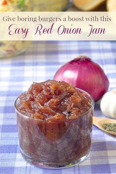 Red Onion Jam - an intensely flavorful, sweet and tangy accompaniment to grilled chicken or pork, with steak or on burgers.(Vegan Dip And Spreads) Rock Recipes, Jelly Recipes, Tomato Jam Recipes, Red Onion Recipes, Chutneys, Red Onion Jam, Red Onion Chutney, Onion Relish, Grilled Meat