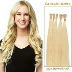 Bleach Blonde Stick Tip Human Hair Extensions Type: Stick / I Tip Color: #613 Bleach Blonde Length:20 Inch Style: Straight Qty: 100 strands Weight:0.5g/strand
