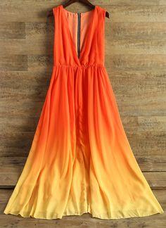$22.31 Plunging Neck Sleeveless Ombre Chiffon Dress - Jacinth