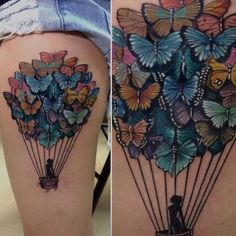 Crazy Tattoo Ideas – Part 01 - Tattoo - Tatoo Ideen Weird Tattoos, Pretty Tattoos, Beautiful Tattoos, Body Art Tattoos, Sleeve Tattoos, Tatoos, Air Balloon Tattoo, Butterfly Balloons, Tattoo Spirit