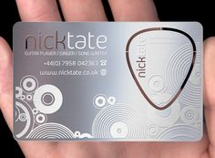 The business card of British musician Nick Tate created by PlasmaDesign has a purpose beyond conveying his contact information. It features a snap out plectrum that any aspiring musician can use for himself. This should ensure they keep him in mind when strumming away.