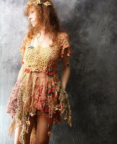 Vintage Lace Doily Dress Bohemian Gypsy Flower Fairy Spring Festival Layering Dress Wedding Prom Majik Horse Hand Made