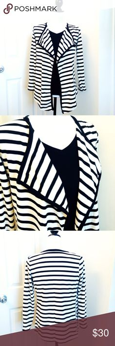 """🎉 HP 🎉 Open Striped Cardigan NWT - So cute! Size S (see note below) Stretchy material There is no materials label but appears to be cotton/polyester blend.   Approximate Measurements: * Front length 29"""" * Back length 24"""" * Bust 34-36""""  NOTE:  This a re-posh. The size label says LARGE but it definitely fits a size SMALL. Jackets & Coats"""