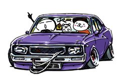 "car illustration""crazy car art""jdm japanese old school ""C130 Butaketsu""original cartoon ""mame mame rock"" / © ozizo""Crazy Car Art"" Line stichersLINE STOREhttps://store.line.me/stickershop/product/1254713"