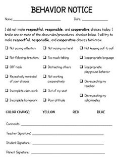 checklist idea, school, student, behavior notice, kidfriend behavior, red and orange classrooms, classroom manag, kids, teacher