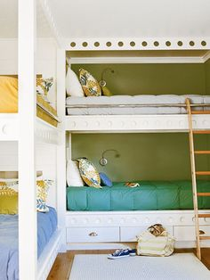 This bunkroom in Santa Cruz, California, is the perfect way to sleep extra visitors. The bunks are extra long to accommodate all ages, and varying but complementary bed linens make each bed feel like its own space.   (Photo: David Tsay)