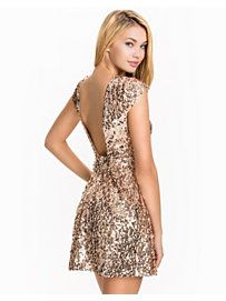 Sequin Skater Dress - Nly One - Champagne - Party Dresses - Clothing - Women - Nelly.com