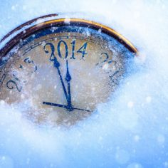 Happy new year 2014 - Old clock in the snow